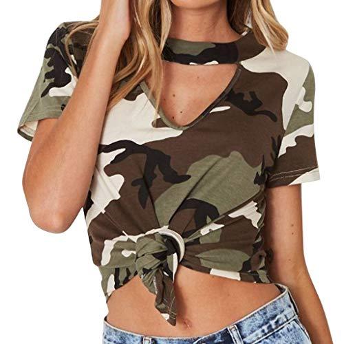 RIUDA Women Camouflage Vulnerability Short Sleeve T-Shirt Beach Funny Letters Print Summer -