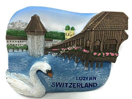 - Chaple Bridge Water Tower Luzern Switzerland Souvenir Collection 3D Fridge Refrigerator Magnet Hand Made Resin