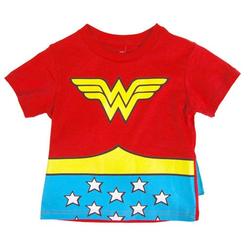DC Comics Wonder Woman Toddler Costume Cape Tee (3T, Red)