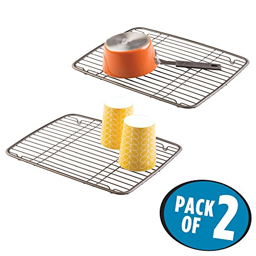 mDesign Kitchen Sink Metal Dish Drying Rack/Mat - Sleek Stee