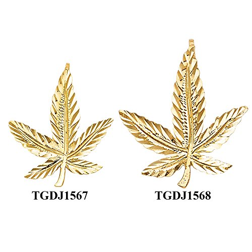 14k Yellow Gold Marijuana Leaf Pendant (TGDJ1567) 14k Yellow Gold Leaf