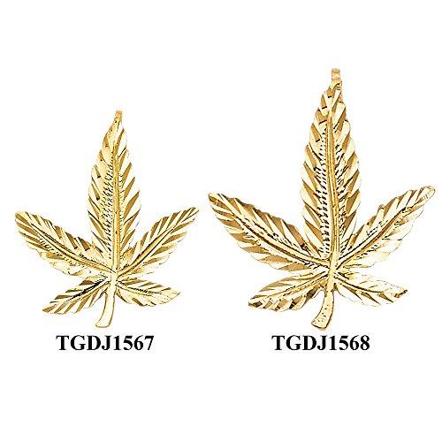 juana Leaf Pendant (TGDJ1567) (Gold Marijuana Leaf)