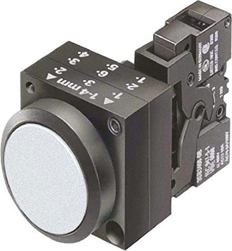 Siemens 3SB3257-0AA61 Pushbutton Unit Flat Button 1 NO Contact Type 110VAC//VDC Integrated LED Illuminated Momentary Operation White 3SB32570AA61