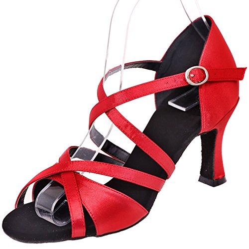 LOSLANDIFEN Womens Peep Toe Weave Style Dance Shoes Criss Cross Strap Buckle Salsa Tango Latin Sandals Red-a PY5UXdJwgg