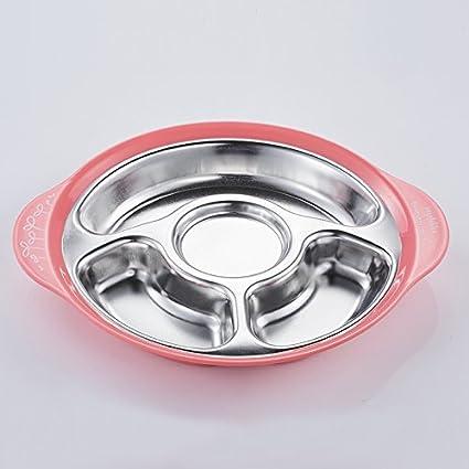 HOOM-Mesa de acero inoxidable de sub plato separador de vajilla infantil bebé bandeja bandeja