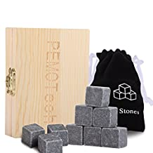 Whisky Stones, Peyou 9 PCS Granite Sipping Stones Whiskey Chilling Rocks Drinks Cooler Cubes with Hand-crafted Wooden Case & Velvet Pouch, Chill Your Whiskey Without Dilution, A Beautiful Gift Set for All Seasons