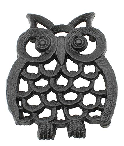 Cast Iron Owl Trivet | Decorative Pot Pan Trivet For Kitchen Counter or Dining Table Vintage Design Trivets | Use For Teapot Casseroles Slow Cooker Crock Pot | With Rubber Feet Recycled (4.5