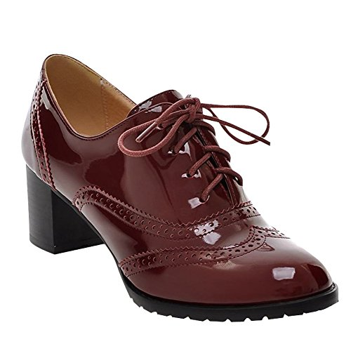 Carol Shoes Women's Fashion Modern Mid-heel Hollow Patterns Ankle Boots Wine Red 8hTSSu