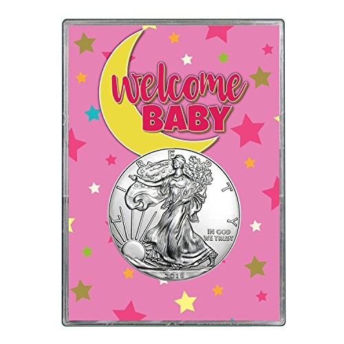 2018 Silver Eagle In Welcome Baby Pink Gift Holder $1 Brilliant Uncirculated by United States Mint