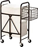 Artesa Collapsible Metal Laundry Cart with Side Basket