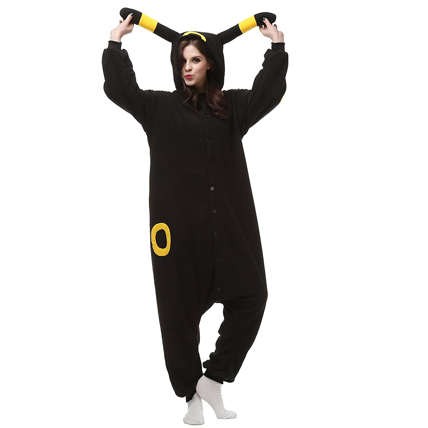 Casa Adult Pajamas - Unisex Fleece Onesie Sleepsuit Animal Onesies Kigurumi Hooded Pyjama Nightwear Costume One-Piece Black Wizard S-XL