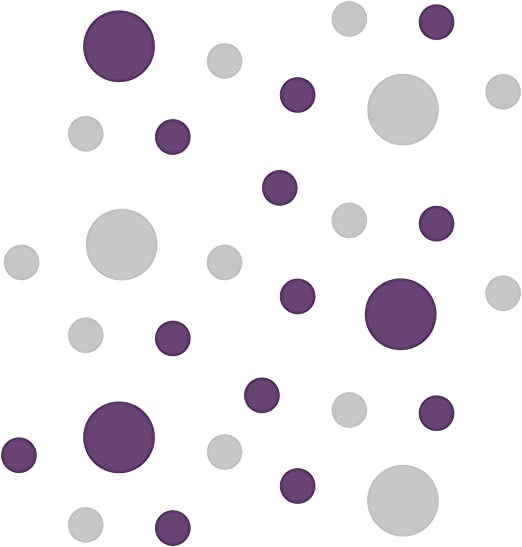 """200 of 2/"""" Purple Polka Dots Circle Peel Stick Removable Wall Vinyl Decal Sticker"""
