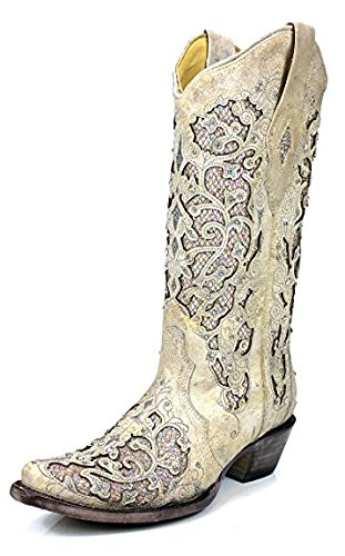 CORRAL A3322 White Leather Glitter Inlay Boot With Crystals (6.5) by CORRAL