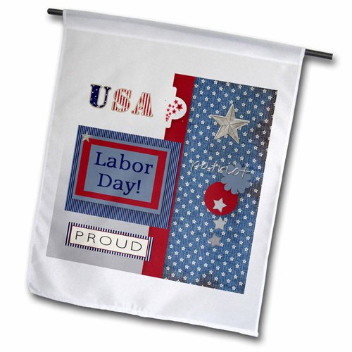 3dRose Patriotic Stars and Words in Blue, Silver, White a...