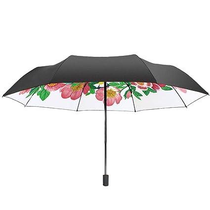 AFCITY Mujer Hombre Paraguas Viaje Exquisito Gato y patrón de Flores Paraguas de Mujer Paraguas Superficie