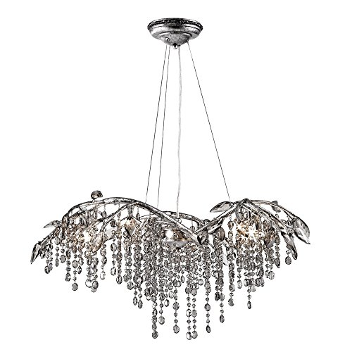 - Golden Lighting 9903-6 MSI Chandelier with Electroplated Smoke Leaded Crystal Shades, Mystic Silver Finish