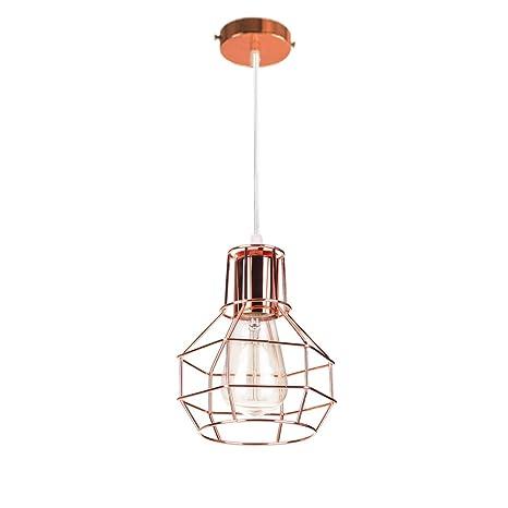 Retro Lámpara Colgante Vintage Luz de Techo Jaula Iluminación E27 ...