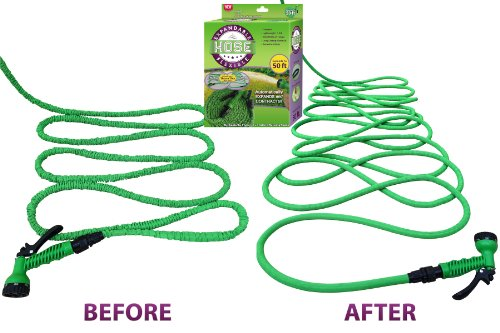 #1 Expandable Garden Water Hose & Nozzle Combo, Expanding From 17' to 50ft, Three Times its Length – This Flexible High Volume Garden Hose is Strong Lightweight Natural Rubber and Never Kinks or Tangles. The Shrinking Garden Hose is Collapsible and Fits in Your Pocket.