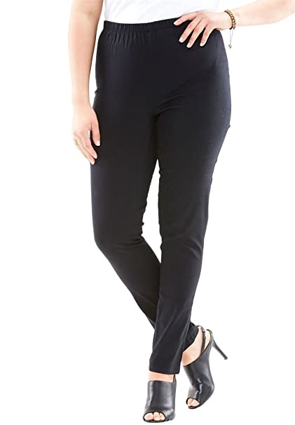 280dc4ed84c Roamans Women s Plus Size Petite Skinny Pull-On Stretch Jean - Black ...