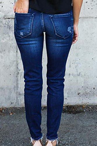 Blu Jeans Denim Donne Strappato Alla Caviglia Yulinge Pantaloni Lunghi Destoryed Le TUPxwHqnYv