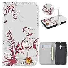 Moto G Case,IVY [Chrysanthemum] Moto G PU Leather Phone Wallet Case with Kickstand For Motorola Moto G (1st Generation) Phone