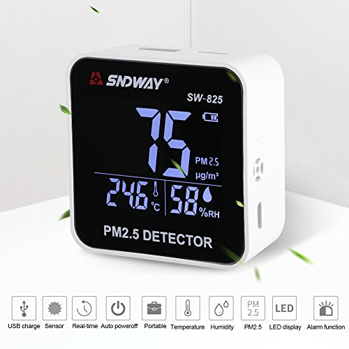 PM2.5 Detector Digital Air Quality Meter Gas Temperature Humidity Analyzer Diagnostic Monitor Health Care Tool by Yosooo (Image #5)