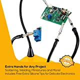 QuadHands Helping Hands Workbench | Soldering + Welding Rig with 4 Magnetic, Moveable Flexible Arms, Sturdy, No-Tip Base and Rotating Alligator Clamps