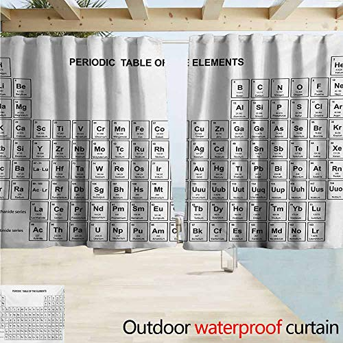 Science Outdoor Door Curtain Element Table for Chemisty Science Students Scientists Classic Plain Image Waterproof Patio Door Panel W72 xL63 Black and White