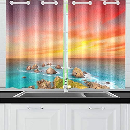 ENEVOTX Nugget Point Coastal View Sunset Kitchen Curtains Window Curtain Tiers for Caf , Bath, Laundry, Living Room Bedroom 26 X 39 Inch 2 Pieces