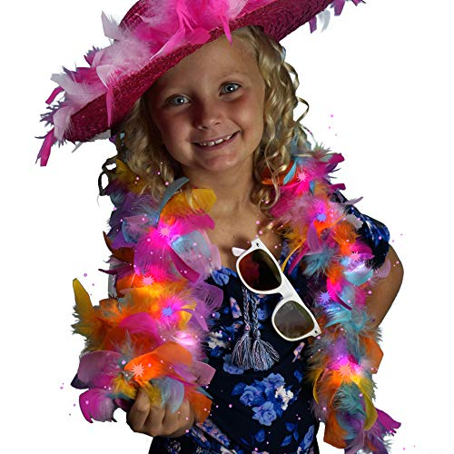 Chandelle Light Up Feather Boa - Rainbow Bright LED Fairy Light Costume Accessory ()