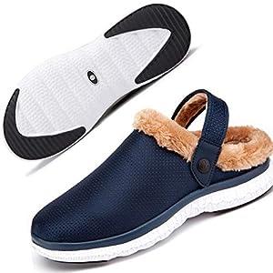 Gaatpot Sabots d'hiver Femme Chaussons Maison Homme Chaud Fourrées Pantoufles Chaussures pour Jardin Antidérapant 36-48