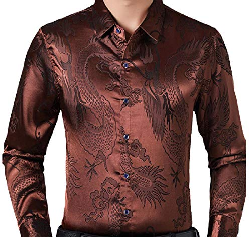 - Tootless-Men Original Fit Imitated Silk Dragon Print Business Shirts Brown M