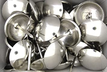 50 Chrome Large Upholstery Chair Nails   19 Mm Diameter Decorative  Furniture Studs
