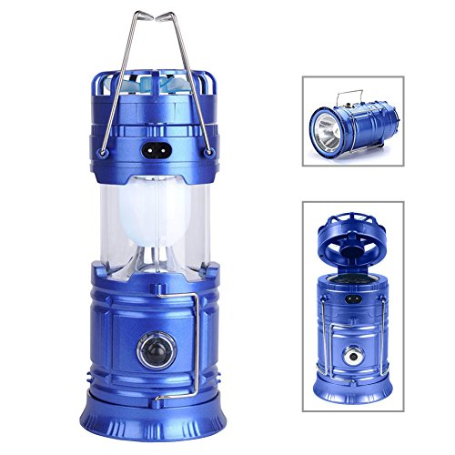 Kuzon Collapsible Camping Lantern Protable Flashlights Solar Rechargeable with Mini Fan for Outdoor, Emergency, Hurricane, Hiking, Fishing, Tent (Blue)