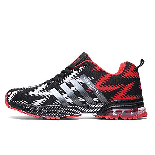 XIDISO Mens Running Shoes Lightweight Air Cushion Sneakers Sport Cross Training Athletic Tennis Shoe for Men Black/Red