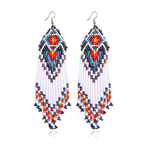 Royalbeier Women's Beaded Earrings Bohemian Multicolour Beaded Tassel Drop Dangle Earrings Handmade Statement Chandelier (White)