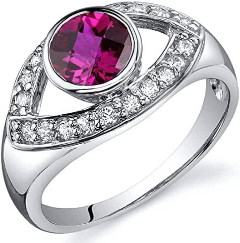 Created Ruby Ring Sterling Silver Rhodium Nickel Finish 1.00 Carats CZ Accent Sizes 5 to 9