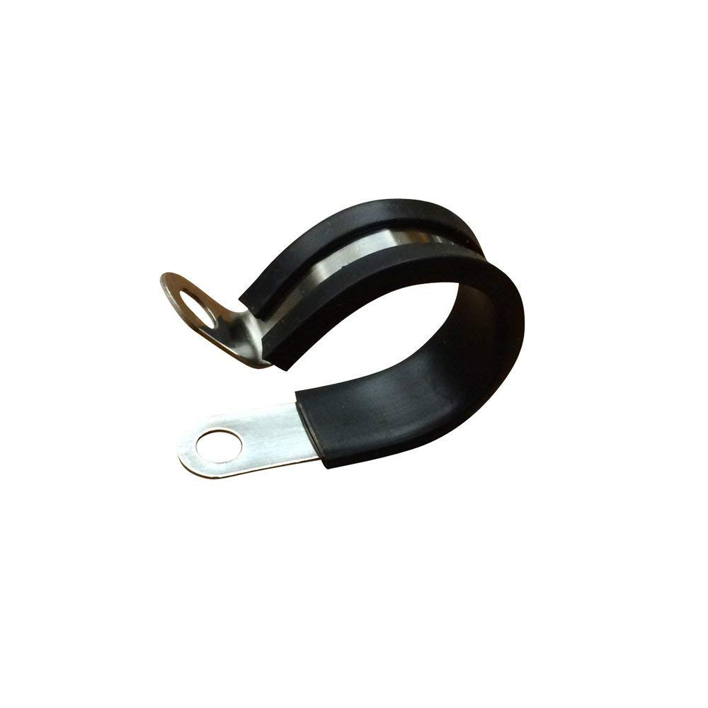 10 Pack Rubber Cushioned Insulated Clamp,Stainless Steel Cable Clamp,Metal Clamp.Pipe/Wire Cord Installation Clamp. (2.5-inch) by Seven YJ.