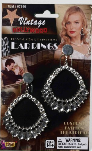 Ring Leader Halloween Costume (Forum Novelties Women's Vintage Hollywood Rhinestone Earrings, Silver, One Size)