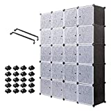 PONTUEL ESCARGOT Interlocking Plastic Wardrobe Cabinet Storage for Clothes Translucent Decorative Patterns, Elegant Black & White (20 Cube)