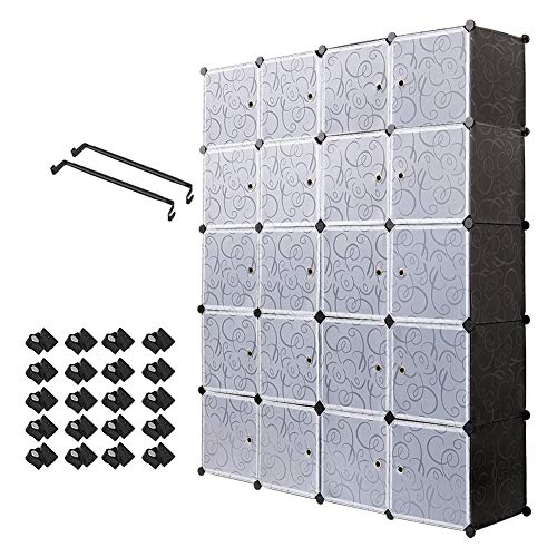 PONTUEL ESCARGOT Interlocking Plastic Wardrobe Cabinet Storage for Clothes Translucent Decorative Patterns, Elegant Black & White (20 Cube) by PONTUEL ESCARGOT