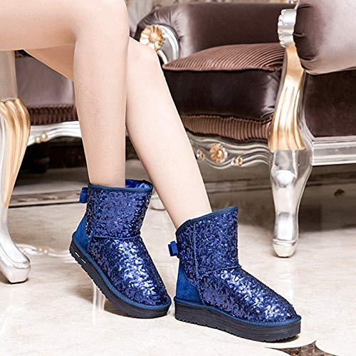 Invierno Nieve De Punta Moda Redonda Botines Cálido Botas Pingxiannv Zapatos Mujer IqwYUnp