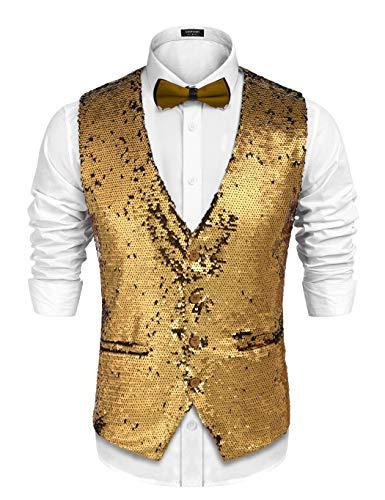 COOFANDY Men's Slim Fit Sequins Vest V-Neck Shiny Party Dress Suit Stylish Vest Waistcoat (Medium, Gold) ()