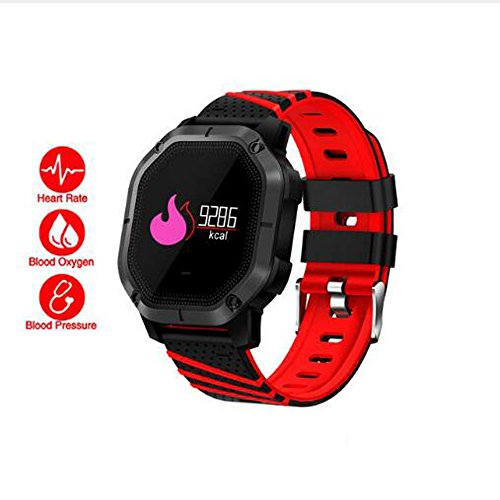 PAIWEISZ IP68 Waterproof K5 Smart Bracelet Multiple Sports Modes Swimming Heart Rate Monitor Blood Oxygen Clock Smart Band for iOS iPhone Android Samsung (Red)