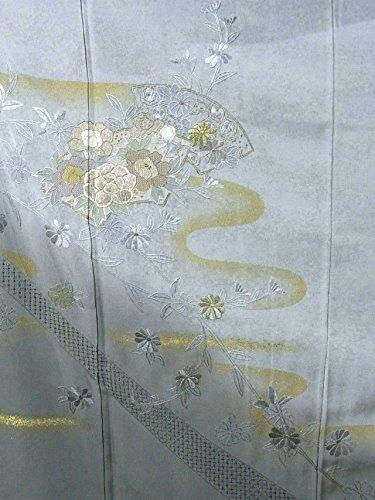 リサイクル 着物 訪問着 刺繍 霞に地紙 正絹 袷 裄63cm 身丈154cm