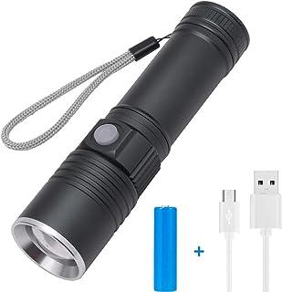 (¡La versión más nueva de 2019!) Mini linterna con zoom T6 Super Bright LED T6 de 3000 lúmenes, USB recargable con, Interruptor de 3 modos impermeable, para acampar y actividades al aire libre