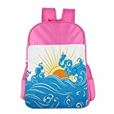 Haixia Child Boys'&Girls' Bookbag Abstract Curved Ocean Waves with Sun Rising with Vibrant Sharp Rays Seascape Art Blue Yellow Orange