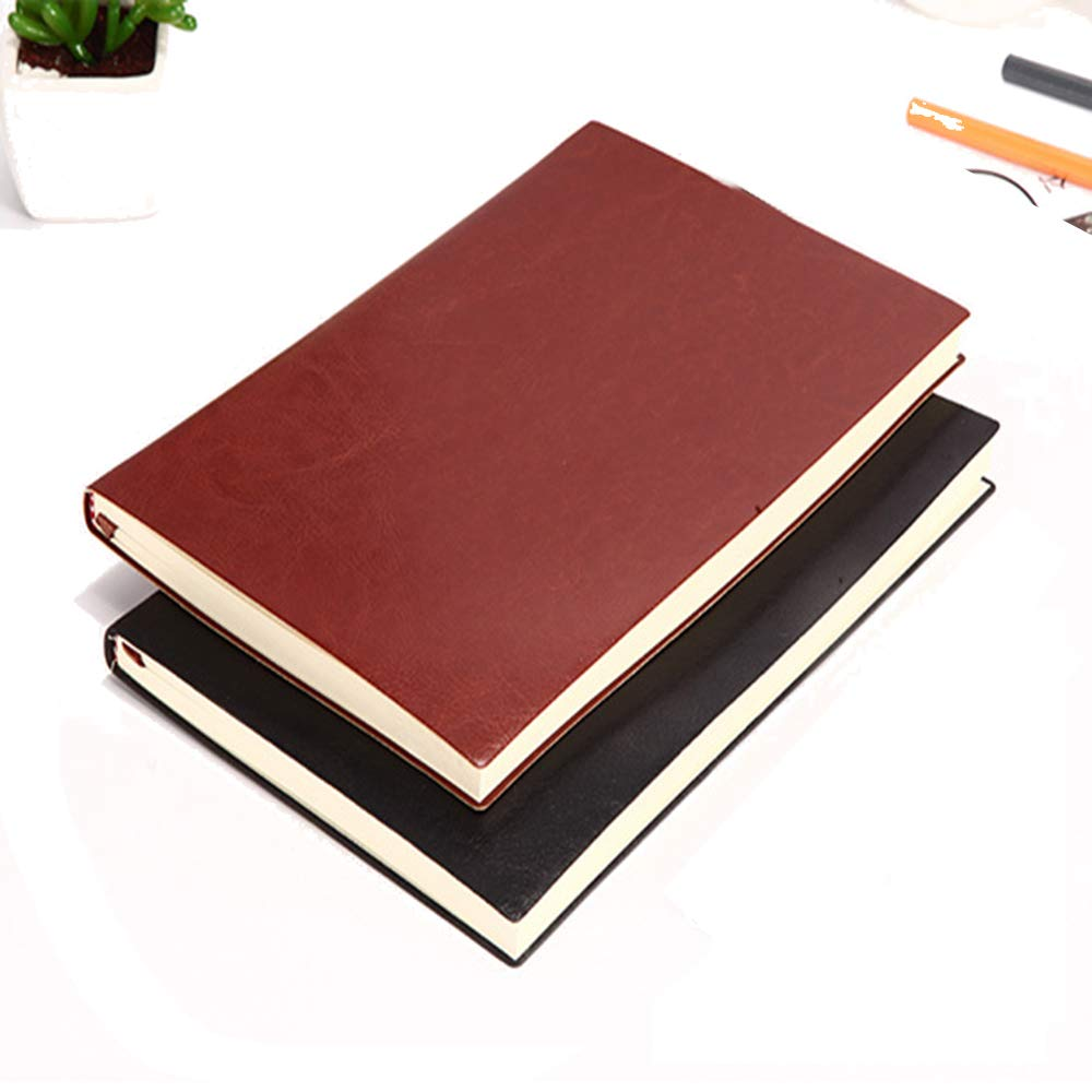 2018 Weekly&Monthly Planner A5 Diary PU Leather Notepad Colorful Writing Journal Office Business Notebook School Stationery Supplies-Black&Brown by Fancyoung (Image #1)