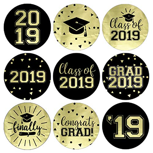 (Class of 2019 Graduation Party Favor Labels | 216 Stickers (Gold)