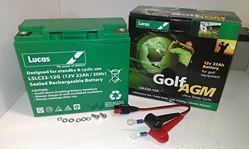 Lucas 12V 22AH AGM 18 Holes Golf Trolley Battery with Hill Billy Connector